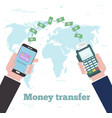 money transfer concept in line art style vector image vector image