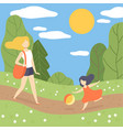mother and her daughter walking in park young vector image vector image