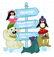 north animals near ice sign vector image vector image