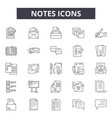 notes line icons signs set outline vector image vector image