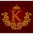 Patterned golden letter K monogram in vintage vector image vector image