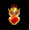 Pretty golden owl with a red heart vector image vector image