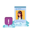profile social network woman with speech bubble vector image