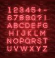 realistic neon alphabet bright neon glowing font vector image vector image