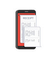 receipt on smartphone vector image vector image