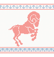 Red knitted pattern with sheep or goat vector image