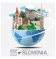 republic slovenia landmark global travel and vector image