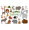 set hand-drawn zoo animals vector image vector image