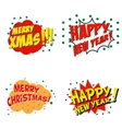 Set of comic style phrases for xmas Cartoon style vector image