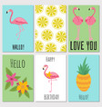 summer kids cards with tropical fruits plants vector image vector image
