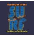 Surfing t-shirt graphic design Huntington Beach vector image