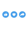 white like and heart icons in blue circle for vector image vector image