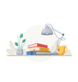 workspace workplace with stalk books lamp tea vector image