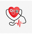 world heart day stethoscope of the heart ecg vector image