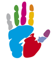 colored hand print vector image