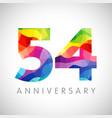 54 anniversary color logo vector image