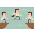 Abstract Businessmen Pulling together on a cliff vector image