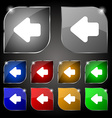 Arrow left Way out icon sign Set of ten colorful