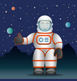 astronaut in a white suit cartoon style vector image
