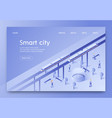 banner is written smart city isometric lettering vector image vector image