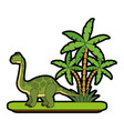 big dinosaur on forest cartoon vector image