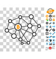 bitcoin network nodes icon with bonus vector image vector image