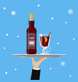 bottle of mulled wine and glass on tray on blue vector image vector image