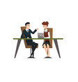 business people smiling and talking at the laptop vector image vector image