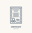 certificate patent flat line icon license vector image vector image