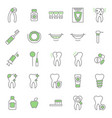 dental care tooth thin line icon set vector image vector image