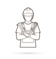 engineer cartoon outline graphic vector image