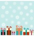 Flat colorful gifts and snowflakes vector image