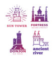 fortress medieval castles labels isolated on vector image vector image