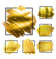 golden grunge brush paint ink stroke with square vector image vector image