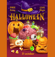 halloween pumpkins with candies witch hat potion vector image vector image