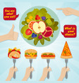 hands giving junk and healthy eating food choice vector image vector image