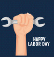 happy labor day hand holding spanner tool vector image vector image