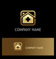 hospital medic gold logo vector image