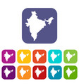 indian map icons set flat vector image vector image