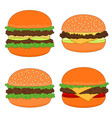 isolated delicious hamburger menu icon set vector image vector image