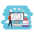 online education millennial student computer vector image vector image