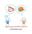 orthodontist says to the patients teeth and eating vector image vector image