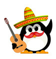 penguin with a guitar and a sombrero cartoon vector image vector image