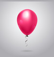 pink balloon with ribbon isolated on grey vector image vector image