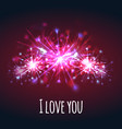 postcard with colorful bright fireworks of hearts vector image vector image