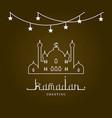 ramadan mubarak and kareem greeting card arabic vector image