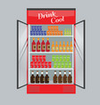 refrigerated supermarket display case full with vector image vector image