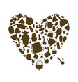 russian sauna heart shape for your design vector image vector image