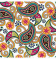 seamless paisley backgroundcolorful flowers vector image vector image