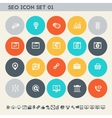 SEO icons set 1 Multicolored square flat buttons vector image vector image